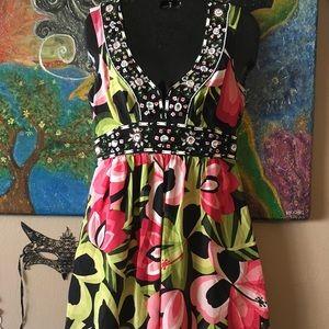 NANETTE LEPORE SILK FLORAL DRESS SIZE 0